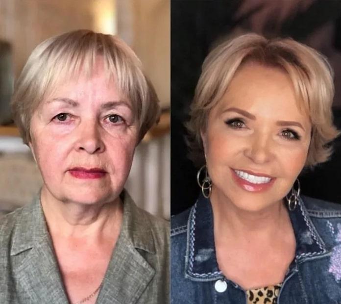 блондинка до и после