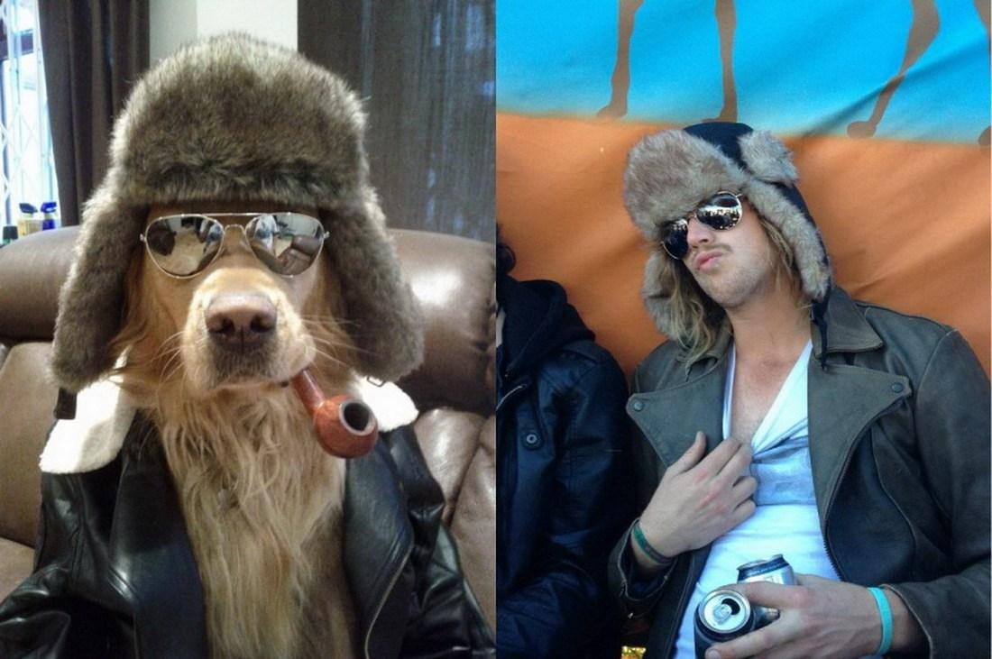собака и парень в одинаковых шапках и очках
