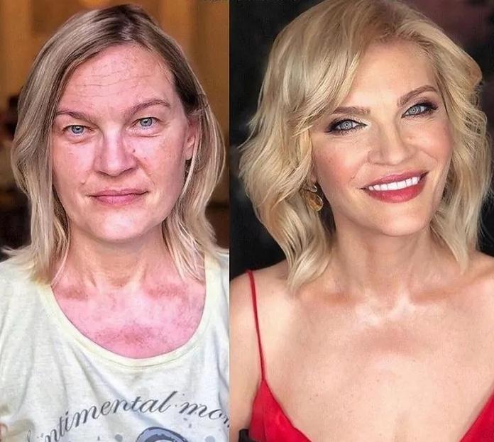 блондинка до и после макияжа
