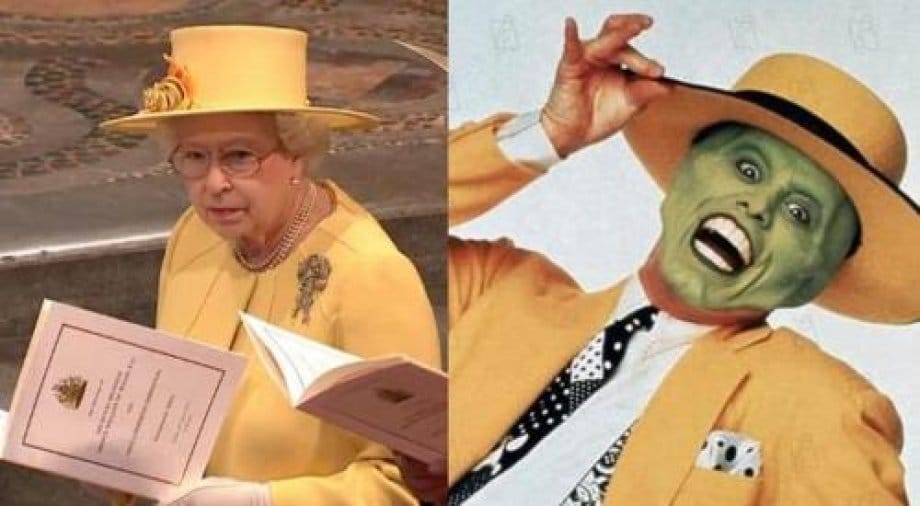 елизавета II и джим керри в образе маски