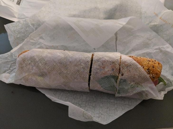 разрезать сендвич