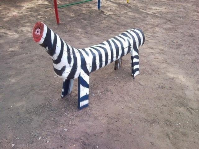 деревянная зебра без головы