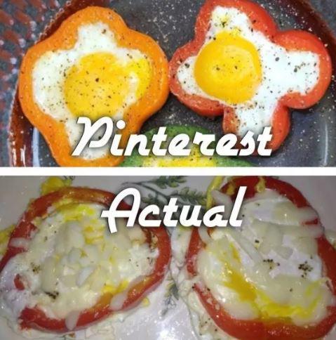 Фото яичницы из рецепта и ее неудачное исполнение