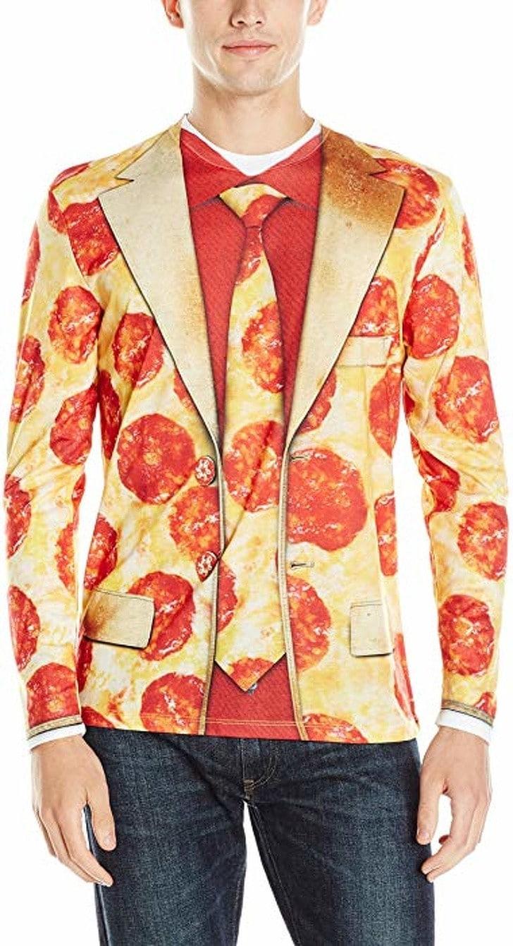 парень в пиджаке с принтом пиццы