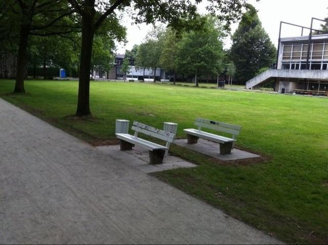 две скамейки в парке