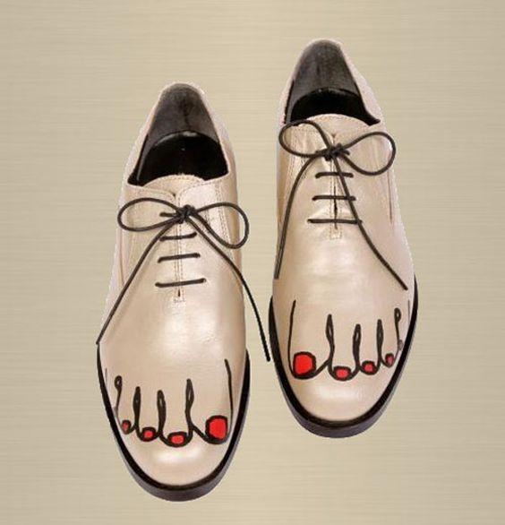 туфли с нарисованными пальцами