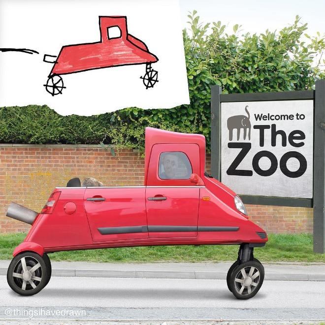 рисунок красной машины