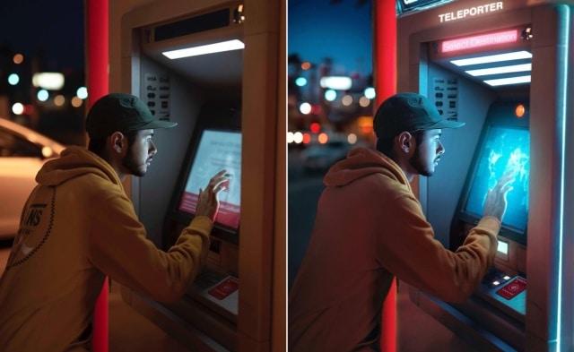 мужчина и банкомат