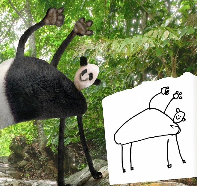 панда в фотошопе