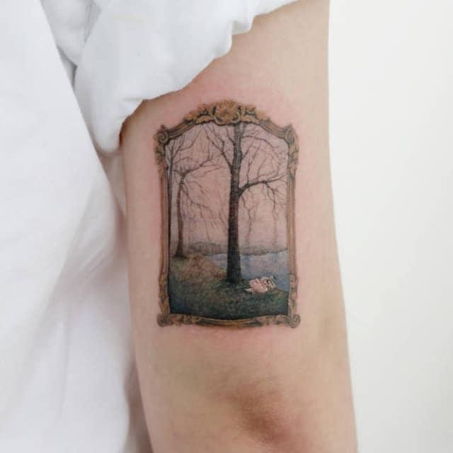 татуировки в виде пейзажа