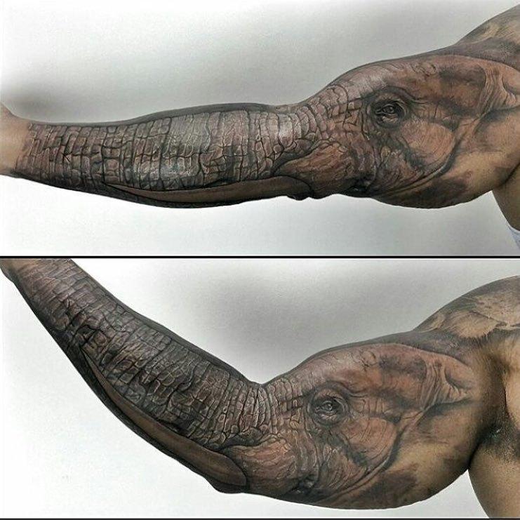 тату в виде слона на руке