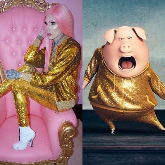 девушка с розовыми волосами в золотистом костюме