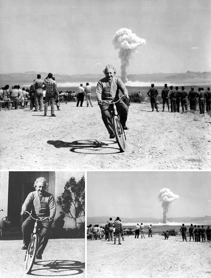 альберт эйнштейн на велосипеде на фоне взрыва