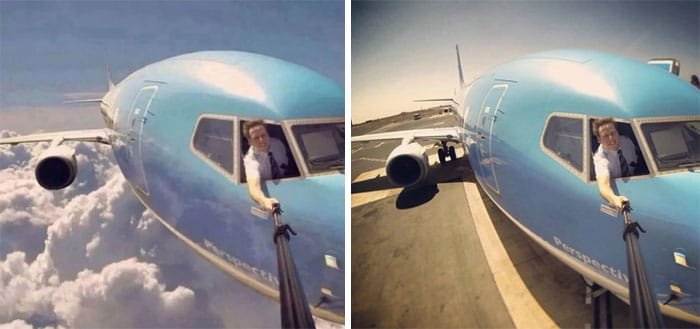 пилот делает селфи в воздухе