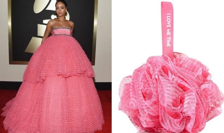 девушка в пышном розовом платье и мочалка