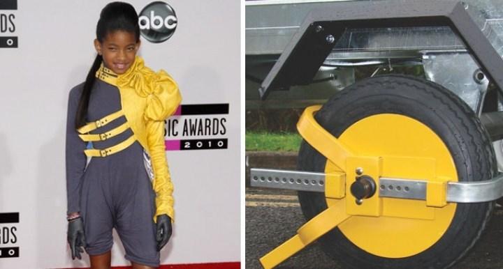 чернокожая девочка в серо-желтом костюме и колесо
