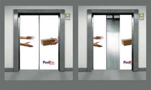 лифт с узором на дверях