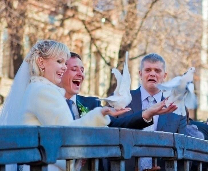 жених и невеста запускают голубей