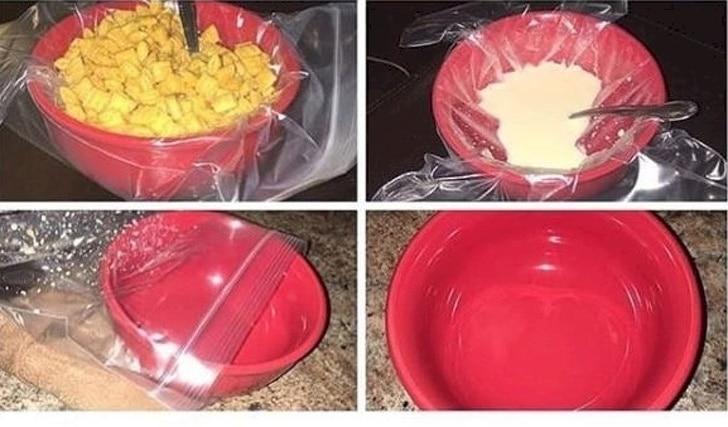 целлофановый пакет и тарелка