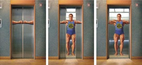 лифт с изображением бодибилдера
