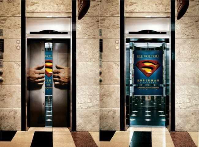 лифт с логотипом супермена