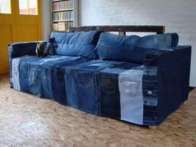 чехол на диван из джинсов