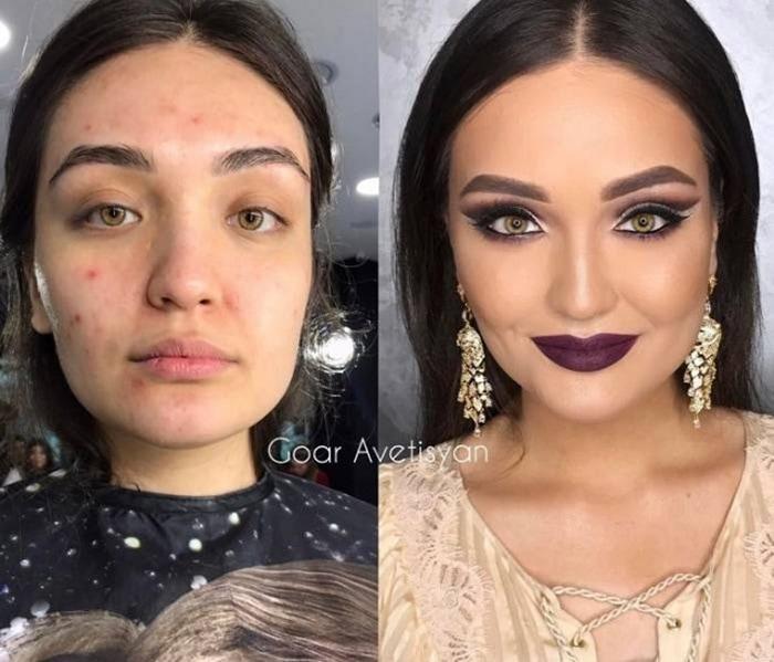 брюнетка с косметикой на лице и без
