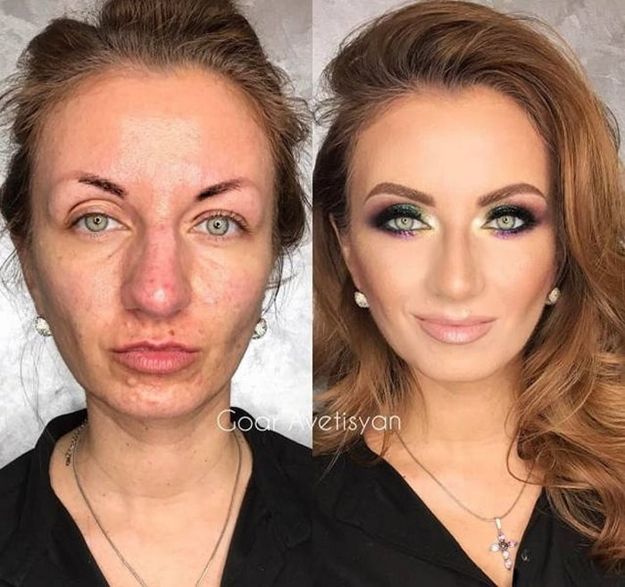 женщина с макияжем и без