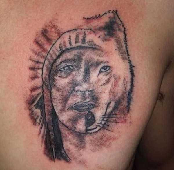тату индейца и волка